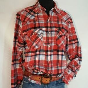 🐪 Red Camel Flannel Plaid Shirt S * Draft